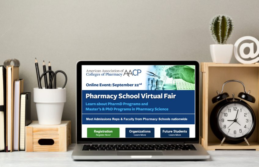 Image of computer with registration page for the Virtual Pharmacy Fair pulled up on screen
